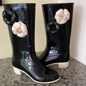 Chanel Camellia Rubber Rain Boots